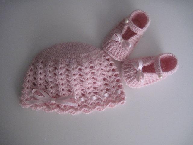 Set coordinato neonata rosa cappello + scarpine fatto a mano lana idea regalo corredino nascita cerimonia battesimo uncinetto