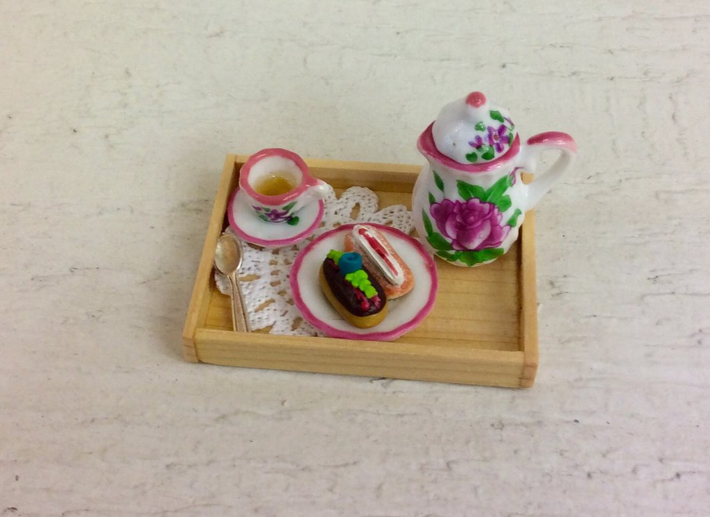 Miniatura vassoio da colazione legno naturale dollshouse