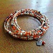 Bracciale boho multigiro, bracciale lungo, idea regalo per lei, collana, arancione, bronzo, beige