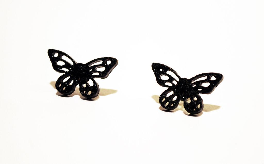 Orecchini a lobo farfalle nere