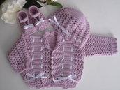 Completino coordinato lilla neonata/neonato unisex golfino / maglioncino  cappellino scarpine lana corredino nascita battesimo uncinetto