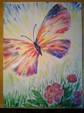 Quadro dipinto ad olio raffigurante una farfalla