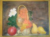 Quadro dipinto ad olio raffigurante due calici e frutti