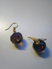 Orecchini bigiotteria viola e oro