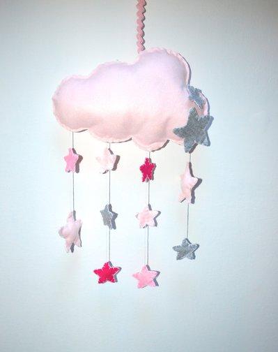 Fiocco nascita a forma di nuvola rosa con stelline