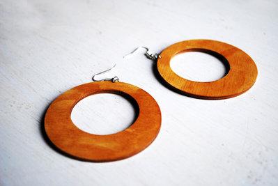 Orecchini cerchi in legno, pendenti in legno