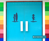 Insegna porta bagno mare - adesivo murale - sticker da parete bagno