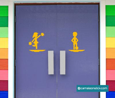 Insegna porta bagno calcio - adesivo murale - sticker da parete bagno