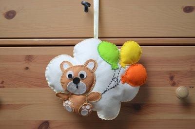 Fiocco nascita a forma di nuvola con orsetto e palloncini