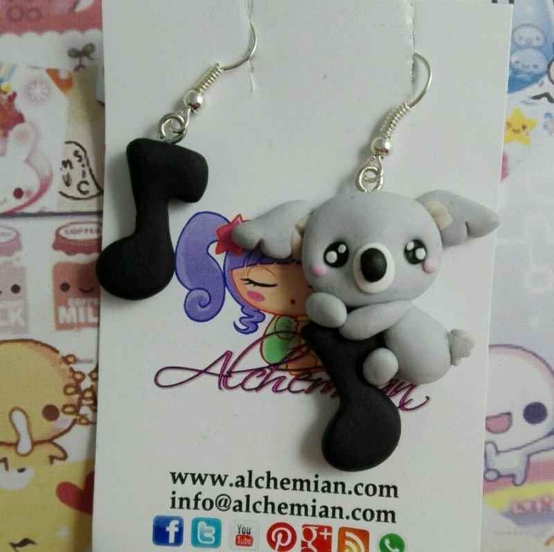 Orecchini koala love Music nota musicale koala fimo loli Kawaii cute