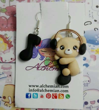 Orecchini orsetto love Music nota musicale cuffie fimo loli Kawaii cute