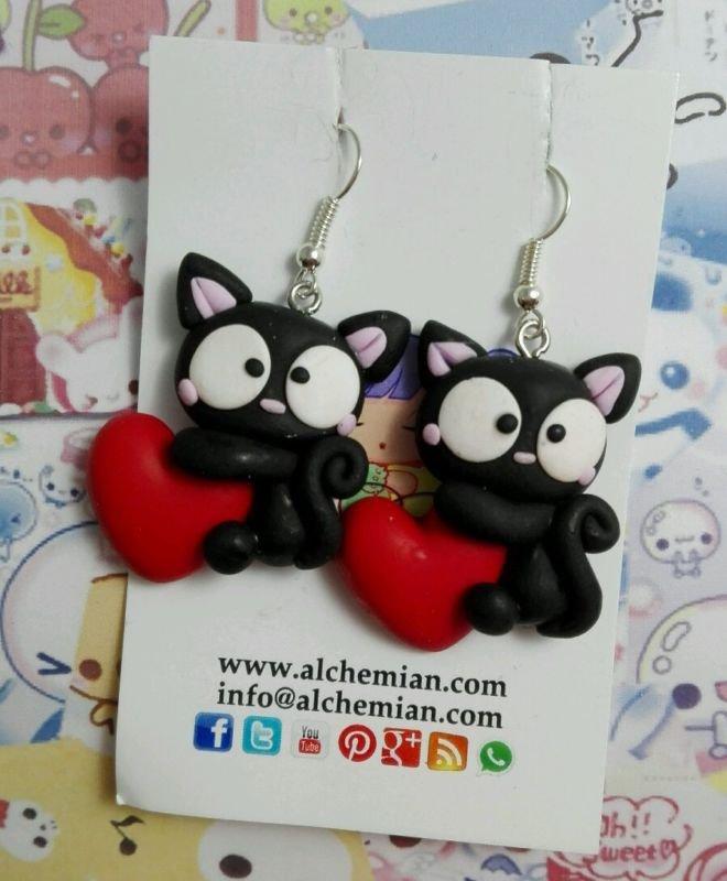 Coppia Orecchini Gatto Nero Cuore Rossored Kawaii Black Cat Fimo C