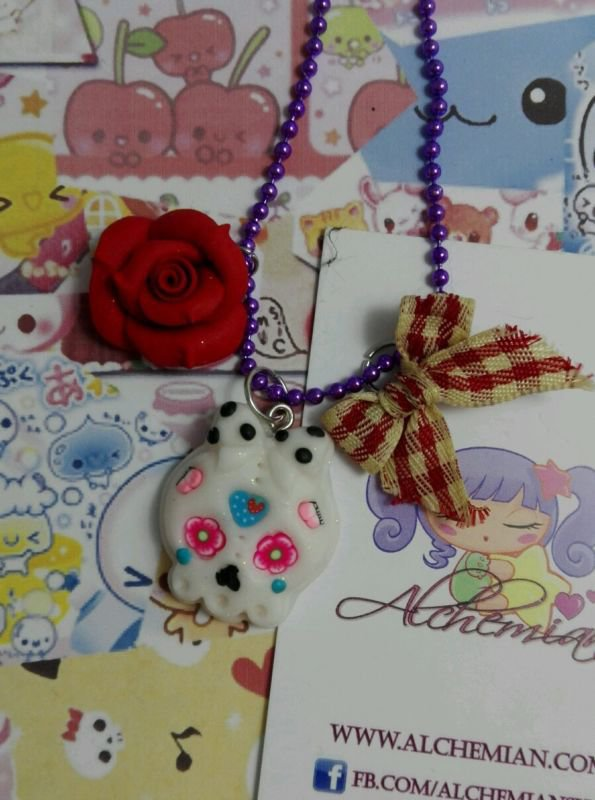 Collana Teschio Messicano, decorato, kawaii style, lolita sweet