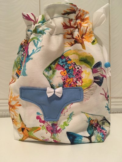 Sacca porta biancheria intimo/ costumi Pesci azzurro