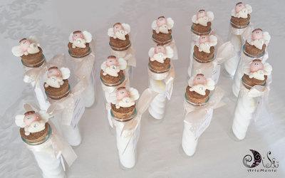 25 Bomboniere comunione provette vetro angelo con cuore avorio con tag card tonda smerlata personalizzata confezionamento completo bomboniere originali