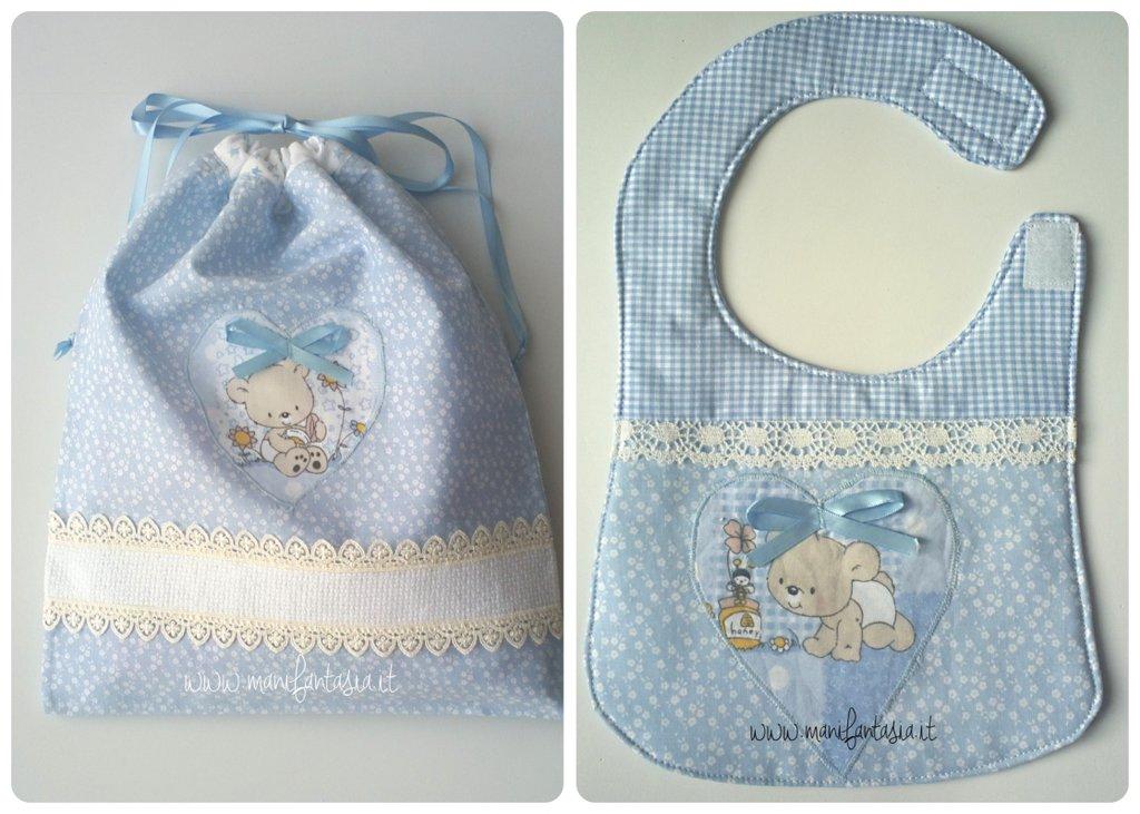 sacchetto nascita primo cambio e bavaglino neonato bimbo