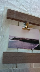 Portafoto da parete con clips bianco