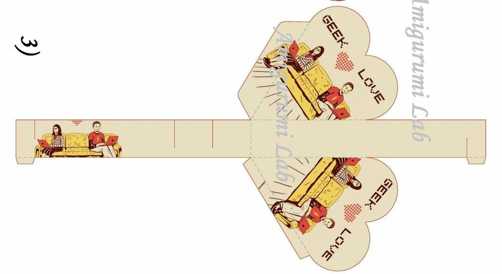 Scatoline cuore stampabili ,printable love box gift -Big Bang Theory