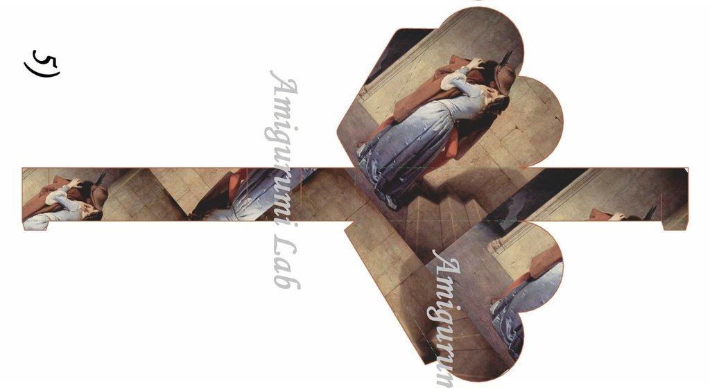 Scatoline cuore stampabili ,printable box gift- Hayez Kiss