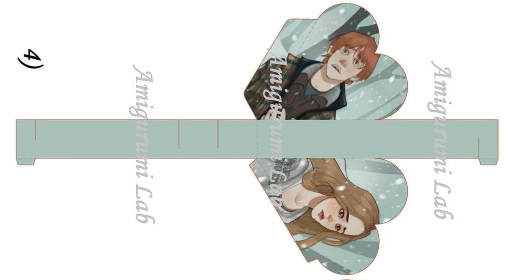Scatoline cuore stampabili ,printable love box gift-Ron e Hermione