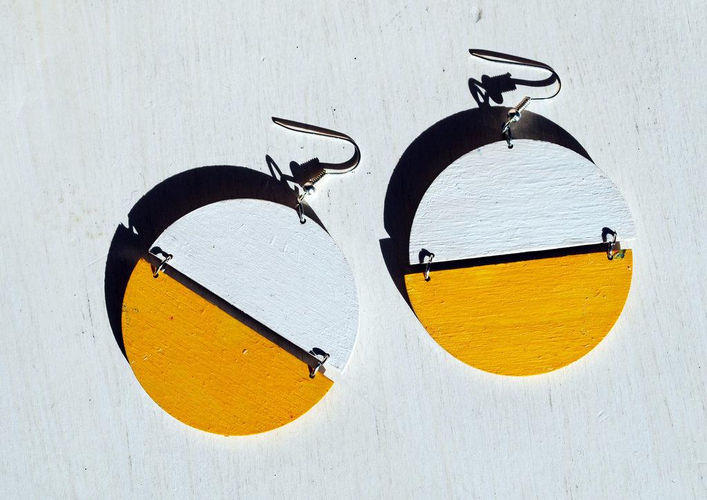 Orecchini Dischi Vintage '70 bianco-giallo, pendenti