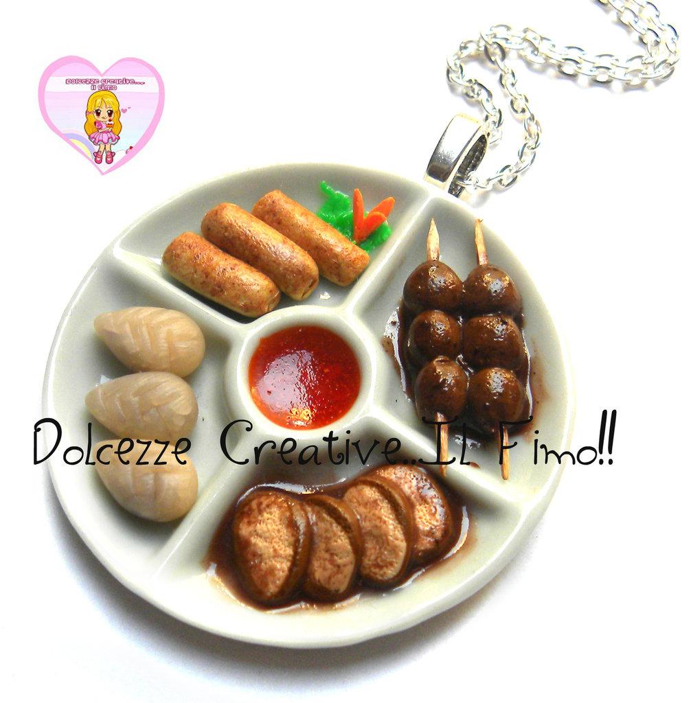 Collana Piatto antipasti cinesi - ravioli al vapore - carne, involtini primavera, niku dango