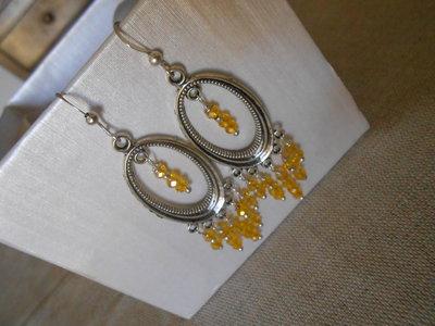 orecchini pendenti con cristalli gialli, idea regalo.