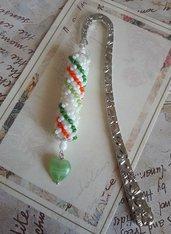 Segnalibro gioiello in metallo, decorato, cristalli perle perline, idea regalo, verde bianco arancione