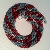 """Collana """"Lariat bicolore"""" rosso-argento"""