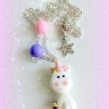 Collana con ciondolo in fimo fatto a mano con un simpatico Unicorno Arcobaleno kawaii idee regalo compleanno bomboniera