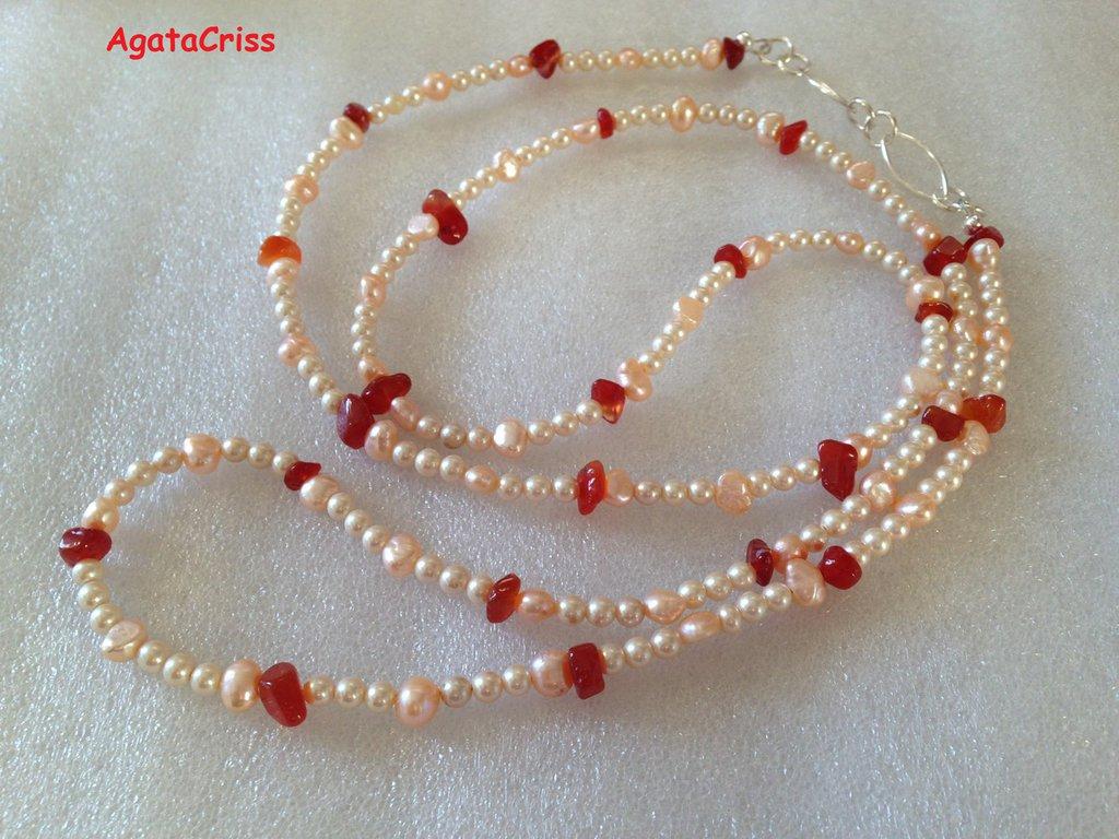 Collana penelope corniola perle di fiume gioielli collane di su misshobby - Collane di design ...