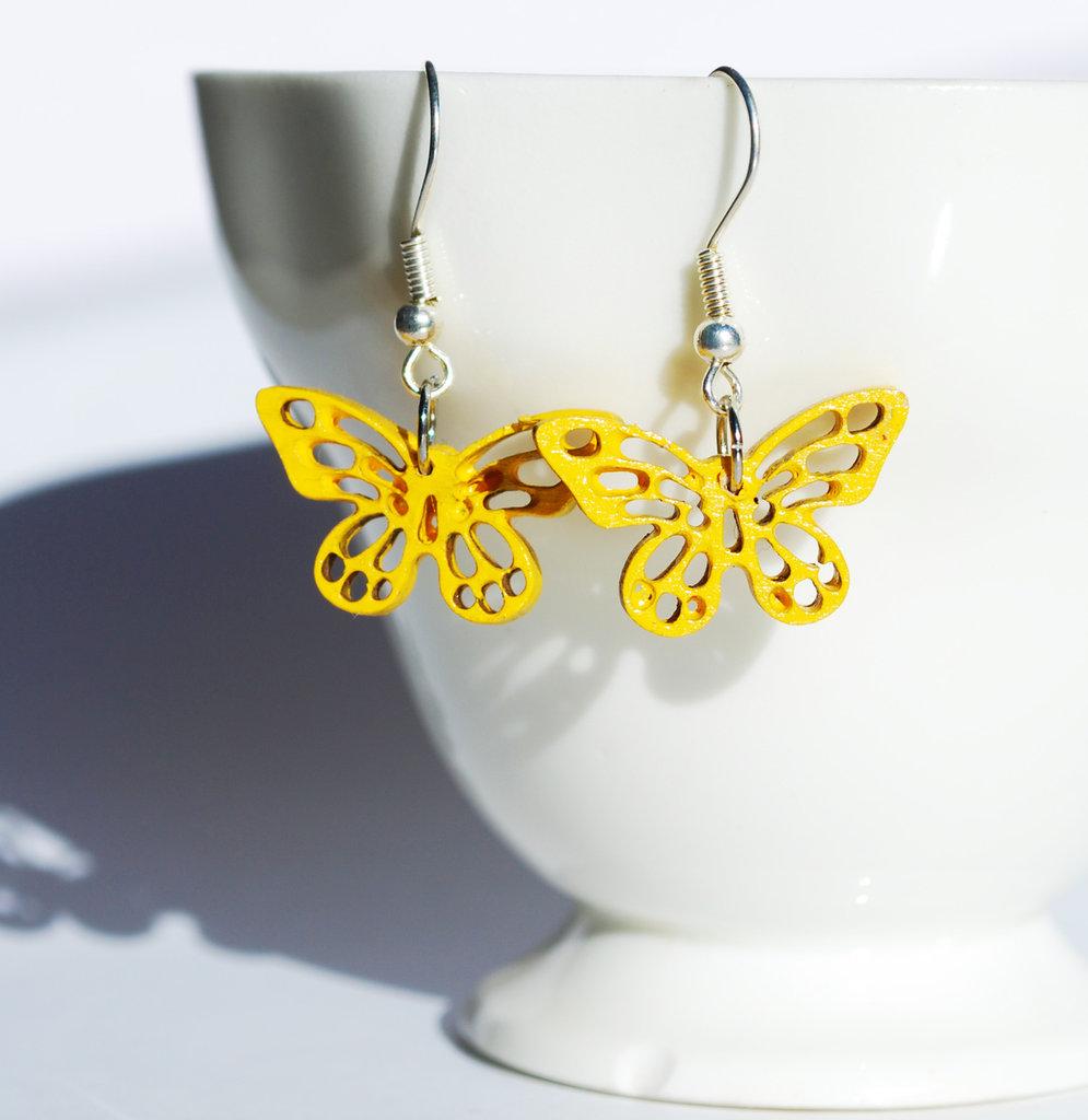Orecchini pendenti farfalle gialle
