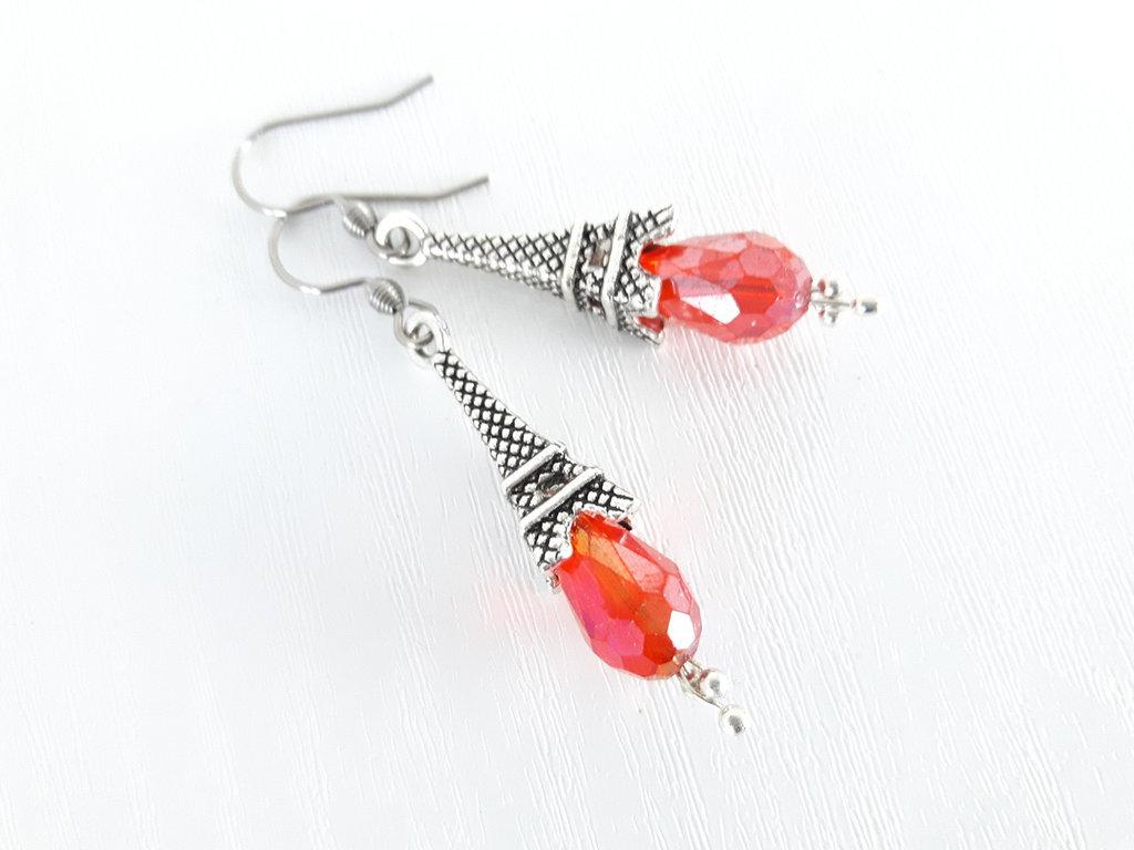 Cristallo rosso AB orecchini Eiffel
