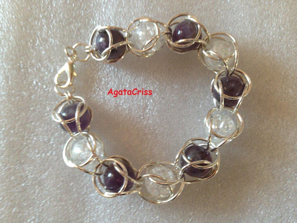 Braccialetto chainmaille agata viola polvere chiaro, cristallo di Rocca.