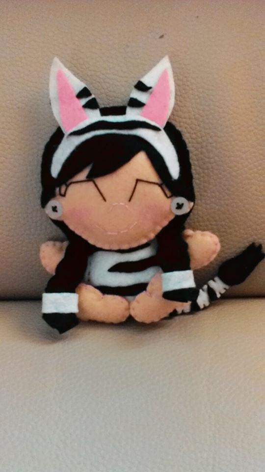 Bambolina Zebra in pannolenci