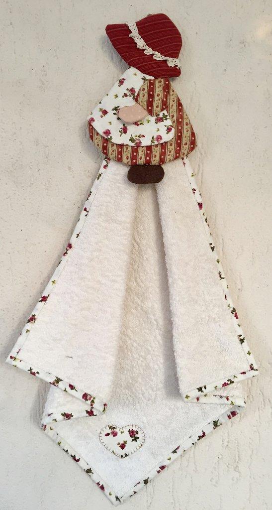 Asciughino-asciugamano in spugna con porta asciugamano bambolina Sue