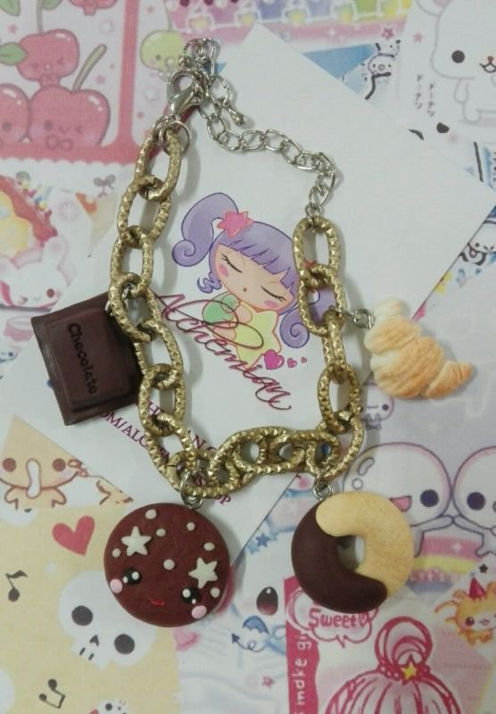 Bracciale biscottini chocolate, american breakfast kawaii, sweet, lolita fiocco