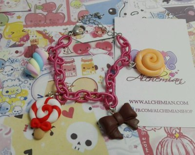 Bracciale Lollipop,marshmallow,liquirizia,fiocco kawaii, sweet, lolita fiocco