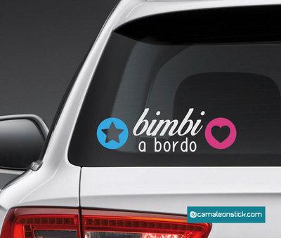adesivo bimbi a bordo - sticker auto per bambini - adesivo lunotto macchina