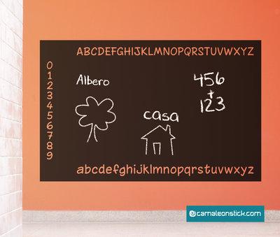 Lavagna adesiva alfabeto - adesivi murali bambini - lavagna da parete - stickers lavagna