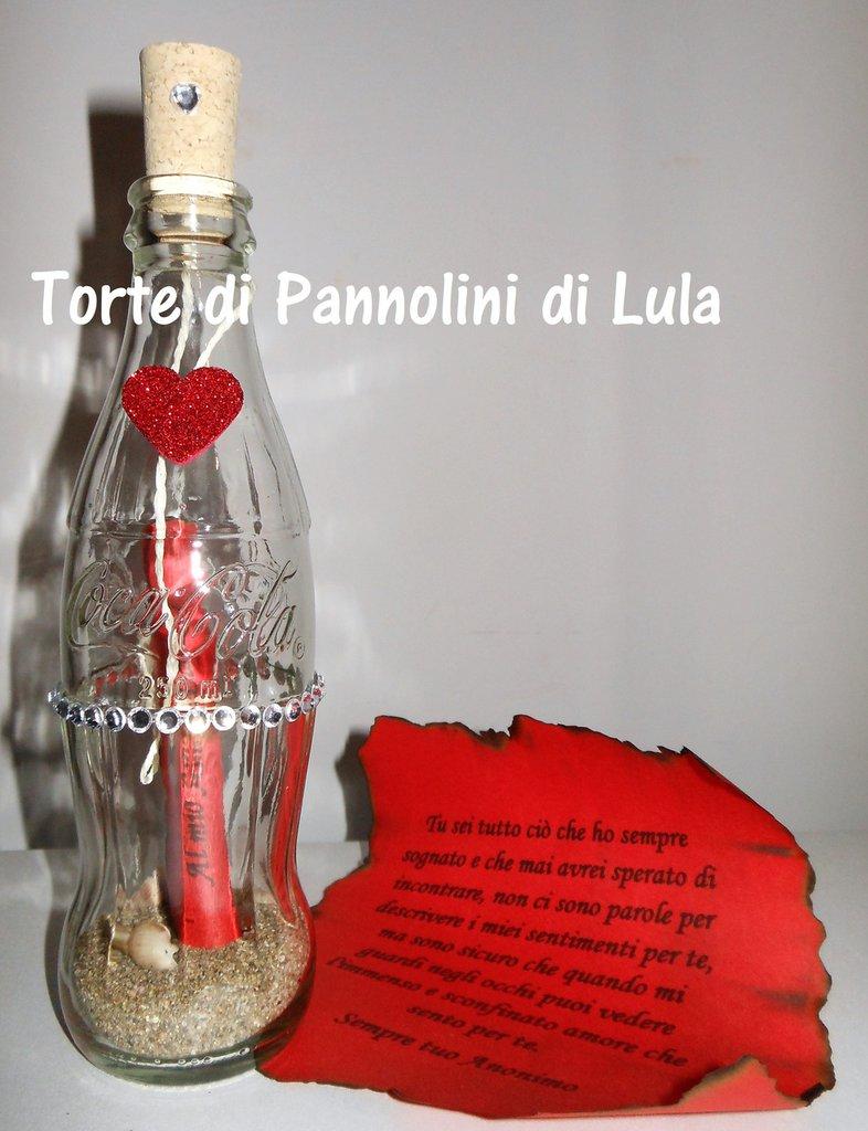 Idea regalo San Valentino - Messaggio bottiglia Coca Cola personalizzata-amore-anniversario-