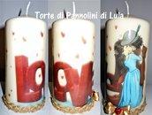 Idea regalo San Valentino Lei - Candela personalizzata: Love bacio innamorati!