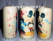 Idea regalo San Valentino Lei - Candela personalizzata:Topolino & Minnie romantico bacio personalizzabile con nomi!