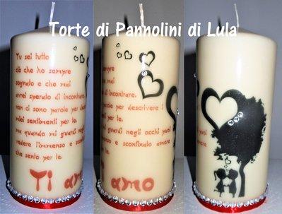 Idea regalo San Valentino Lei - Candela personalizzata: lettera dedica messaggio amore personalizzabile + coppia bacio