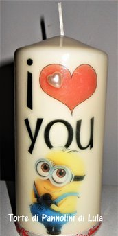 Idea regalo San Valentino Lei - Candela personalizzata I LOVE YOU + Minion (o qualsiasi altro personaggio!)