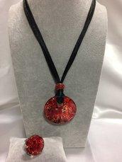 Parure collana/anello in vetro di Murano