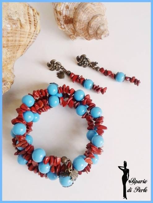 Parure bracciale+orecchini con chips e perle in vetro - ANTEPRIMA ESTATE