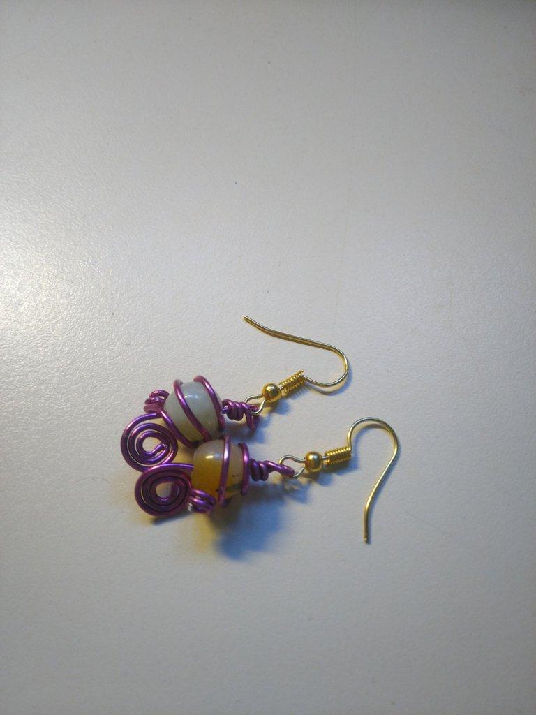 Orecchini in Giada con spirale viola