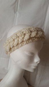 Fascia in lana paraorecchie color panna