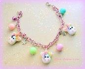 Bracciale in alluminio rosa con unicorni in fimo fatti a mano kawaii idee regalo compleanno